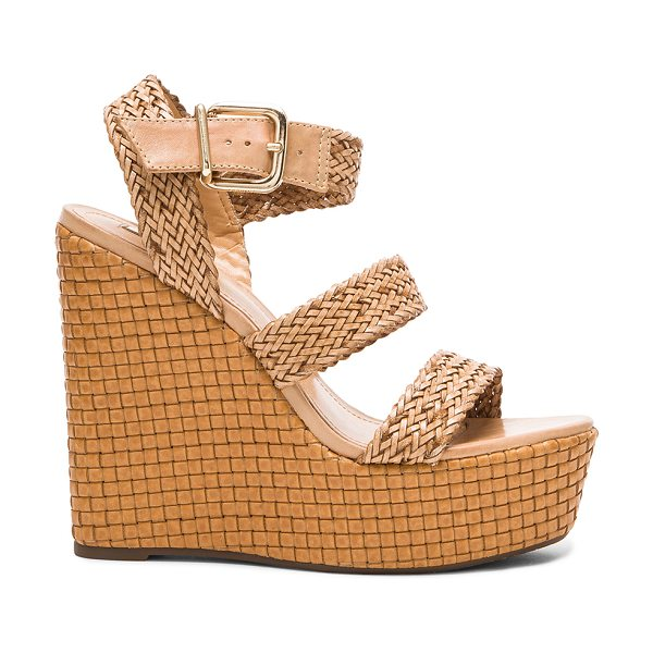 Schutz Eikel wedge in brown - Woven straw upper with rubber sole. Wedge measures...