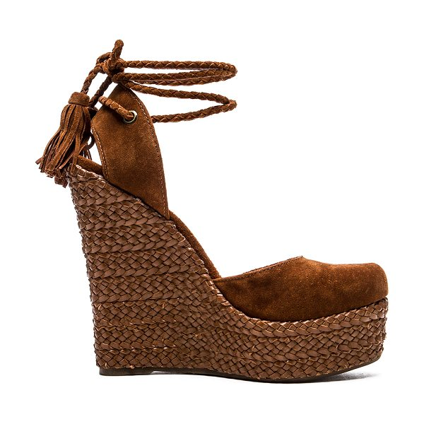 Schutz Eleanor wedge in brown - Suede upper with rubber sole. Braided leather wrapped...