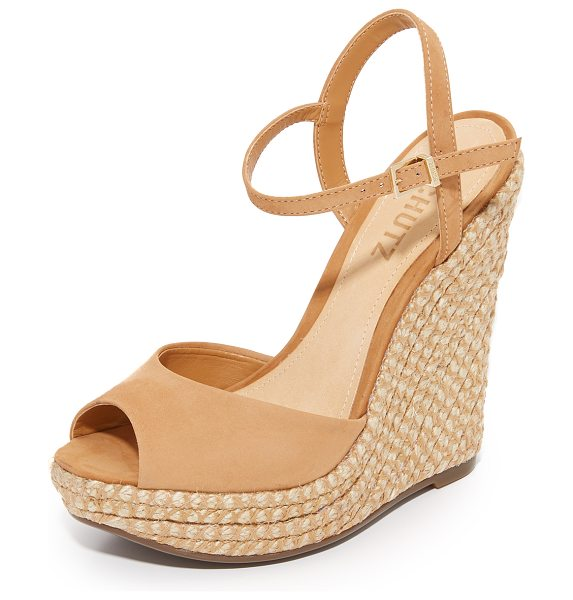 Schutz elhan wedges in desert - Braided jute covers the substantial wedge on these...