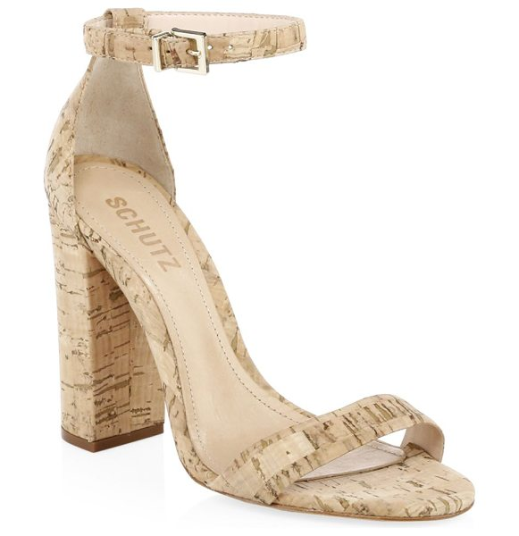 Schutz enida ankle-strap cork & suede sandals in natural