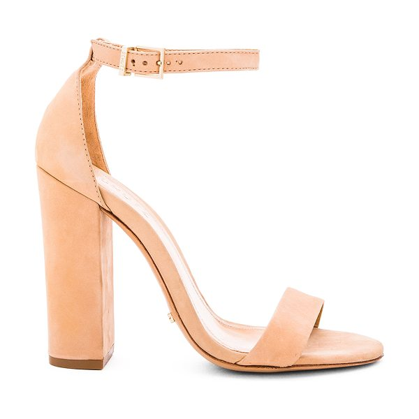 "Schutz Enida Heel in beige - ""Suede upper with leather sole. Ankle strap with buckle..."