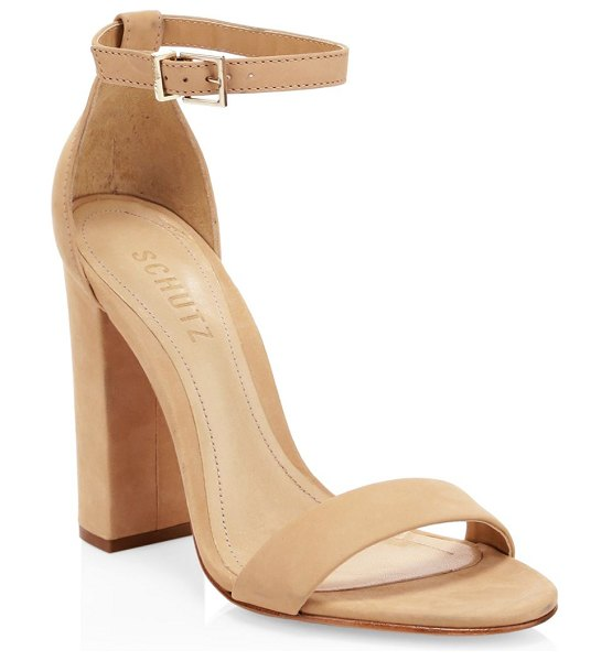 Schutz enida leather sandals in natural - Nubuck leather sandals with tall heel and alluring ankle...