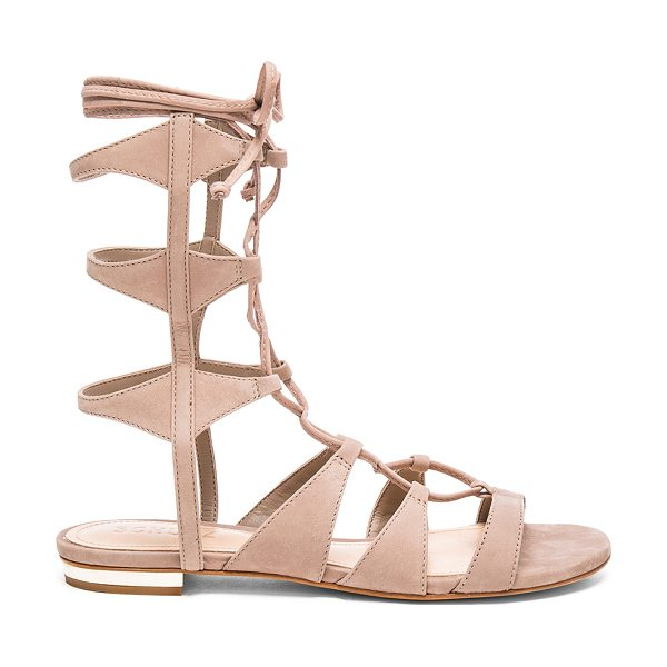 SCHUTZ Erlina Sandal - Suede upper with leather sole. Lace-up front with wrap...