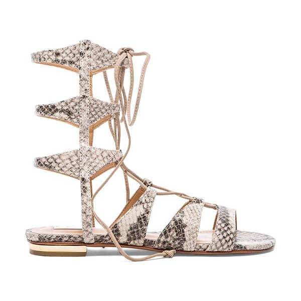 SCHUTZ Erlina sandal in taupe - Snake embossed leather upper with leather sole. Shaft...