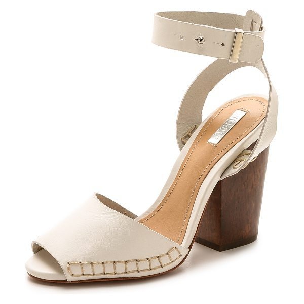 Schutz Ervinia ankle strap sandals in pearl - A chunky wooden heel elevates these leather Schutz...