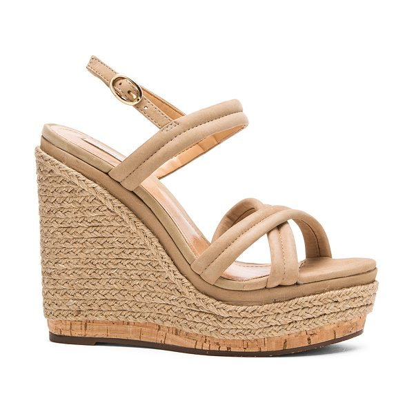 Schutz Evy wedge in taupe - Leather upper with rubber sole. Wedge measures approx...