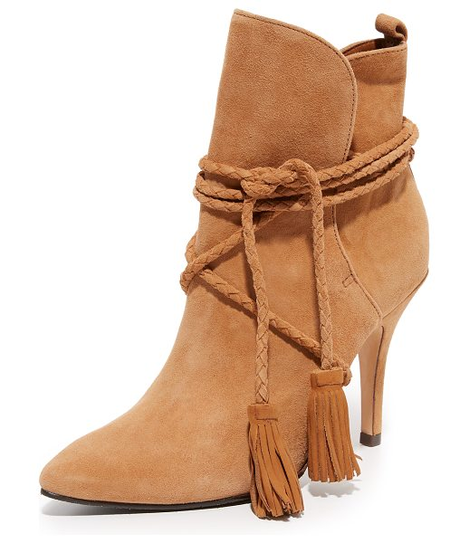 SCHUTZ fadhila booties in brownie - Braided ties with tassel accents close the split cuff on...
