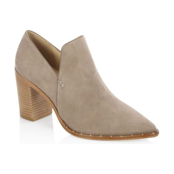 Schutz fomo suede booties in taupe - Pump-inspired suede bootie with ankle cutout. Stacked...