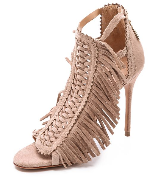 Schutz Fringe suede sandals in oyster - Soft fringe accents the woven front panel on suede...