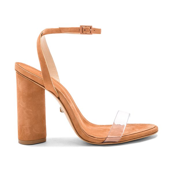 "Schutz Geisy Heel in tan - ""Suede and clear vinyl upper with leather sole. Ankle..."