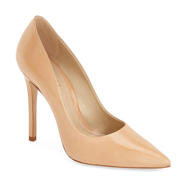 Schutz gilberta pump in sunkiss leather - A square stiletto heel lends a modern, angular touch to...