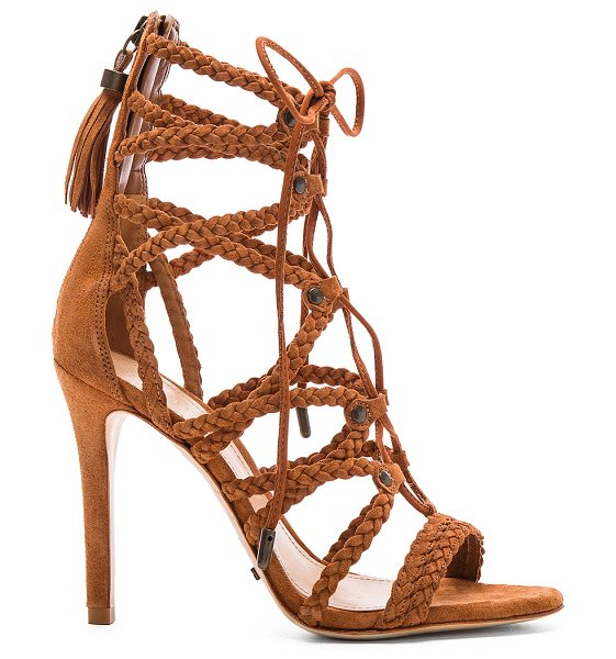 Schutz Glenna heel in brown - Suede upper with leather sole. Braided straps. Lace-up...