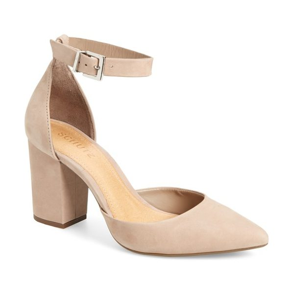 Schutz ionara ankle strap pump in neutral nubuck leather - A svelte pointy toe complements the chunky block heel of...