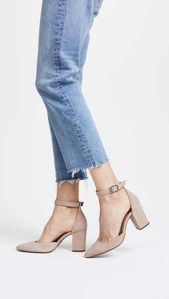 Schutz ionara ankle strap pumps in neutral - Pointed-toe Schutz pumps crafted in smooth suede. Ankle...