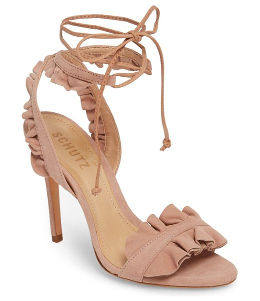 Schutz irem lace-up sandal in peach suede - Slim ties lace up and around the ankle of a...