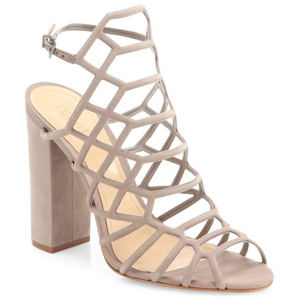 Schutz jaden caged suede block heel sandals in neutral - Alluring caged suede sandal set on chunky block heel....