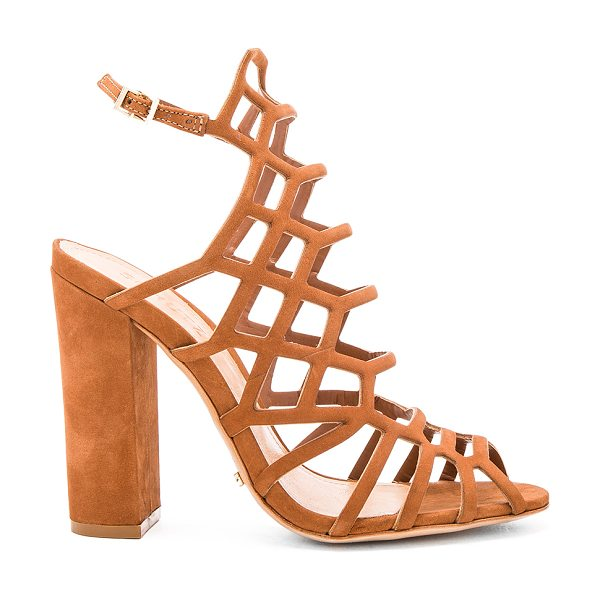 Schutz Jaden Heel in brown - Leather upper and sole. Ankle strap with buckle closure....