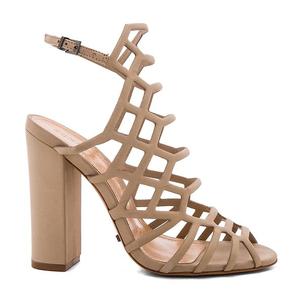 SCHUTZ Jaden Heel - Suede upper with leather sole. Ankle strap with buckle...