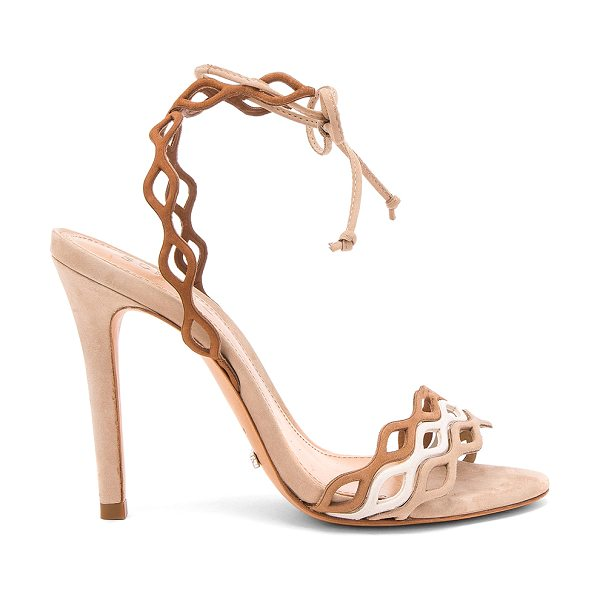 "Schutz Jaffy Heel in tan - ""Leather upper and sole. Wrap ankle with tie closure...."