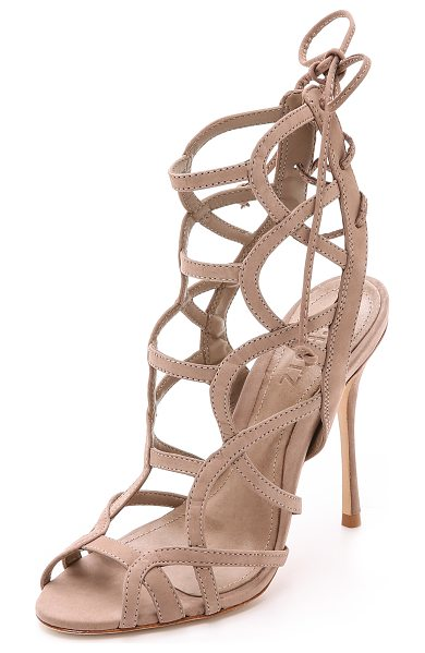 SCHUTZ Joelle strappy sandals in neutral - Curved straps form a sexy cage silhouette on these...