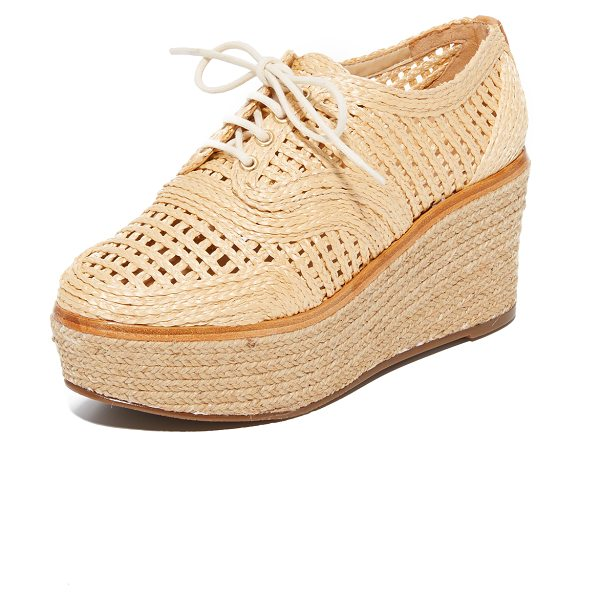Schutz jules platform oxfords in natural/light wood - Woven raffia adds natural appeal to these perforated...