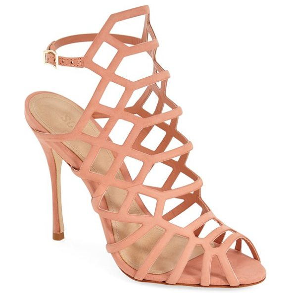 SCHUTZ juliana sandal - Snake-print leather styles a chic cutout sandal set on a...