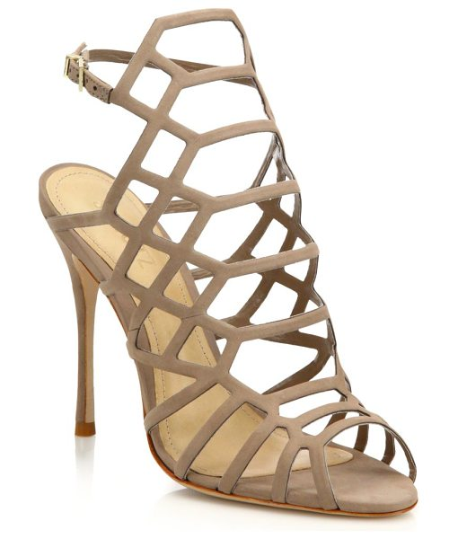 Schutz juliana suede caged sandals in natural - Cutout suede caged sandal set on svelte heel....
