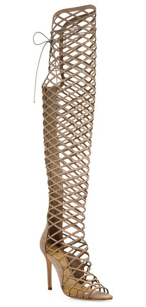 Schutz karlyanna tall cutout suede gladiator boots in neutral - Lattice cutouts define sultry suede gladiator style....