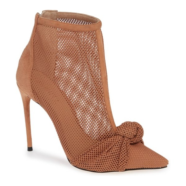 Schutz kessie pointy toe boot in brown - Knotted detailing at the pointy toe adds to the visual...