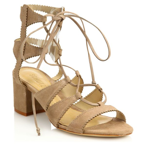 SCHUTZ Latisha mid-heel suede gladiator sandals - Suede lace-up gladiator silhouette with scalloped...