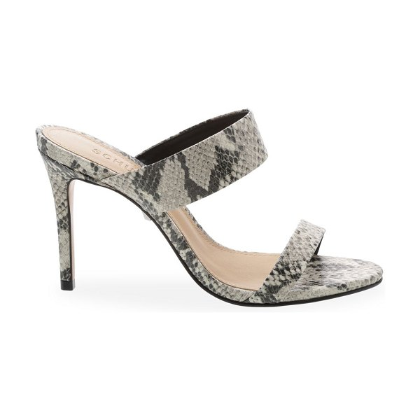 Schutz leia snake-embossed double strap sandals in natural
