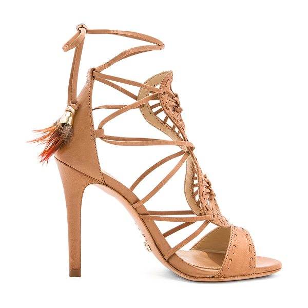 "Schutz Lilliana Heel in brown - ""Leather upper and sole. Lace-up sides with wrap tie..."