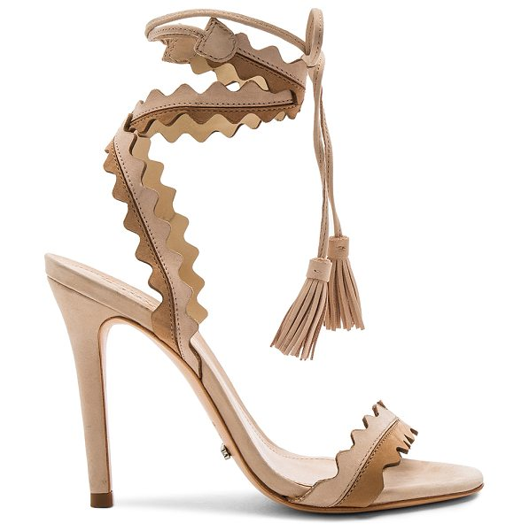 "Schutz Lisana Heel in beige - ""Suede upper with leather sole. Wrap ankle with fringed..."