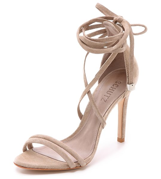 Schutz Lola suede ankle wrap sandals in neutral - Beads finish the wraparound ankle ties on these suede...