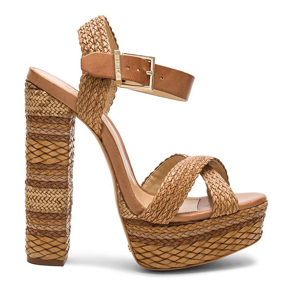 "Schutz Lorah Heel in tan - ""Woven leather and leather upper with leather sole...."