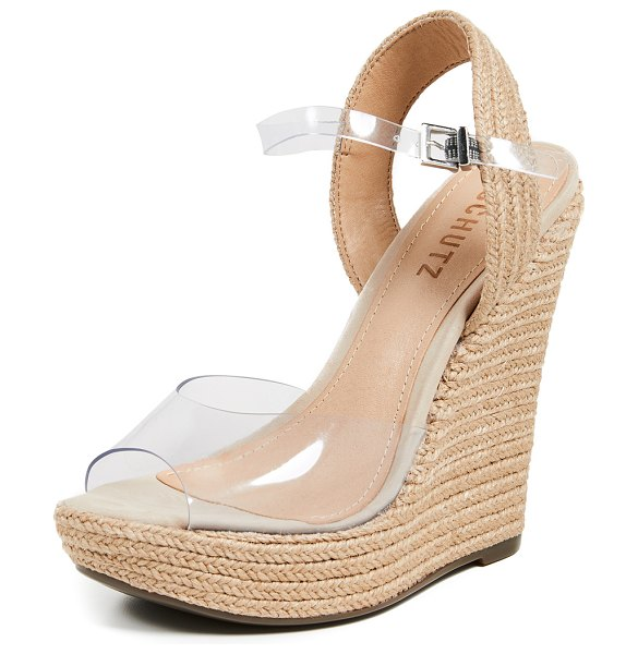 Schutz lutieres wedge espadrilles in transparent/natural - Fabric: Braided jute Vinyl straps Espadrilles Wedge heel...