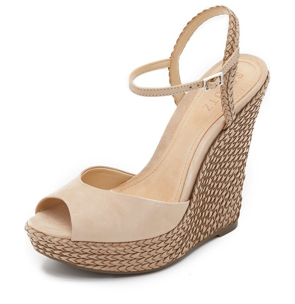 Schutz Mable wedge sandals in oyster - Smooth nubuck and braided leather composes these Schutz...