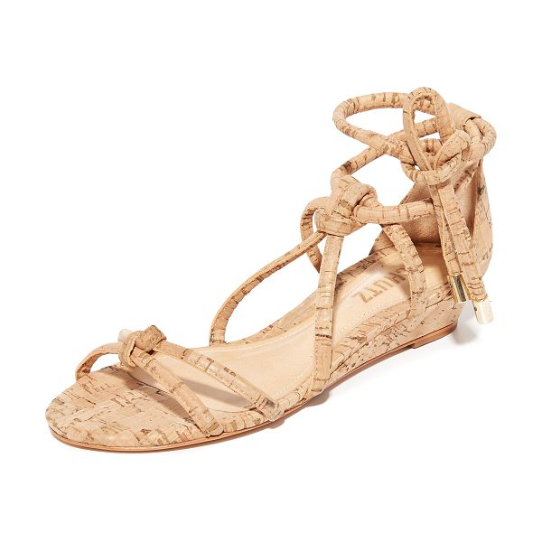 Schutz margarete wedge sandals in natural - Knotted straps create a caged effect on these cork...