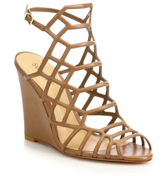 SCHUTZ Margie leather caged wedge sandals - Cutout leather caged sandal grounded by wedge...