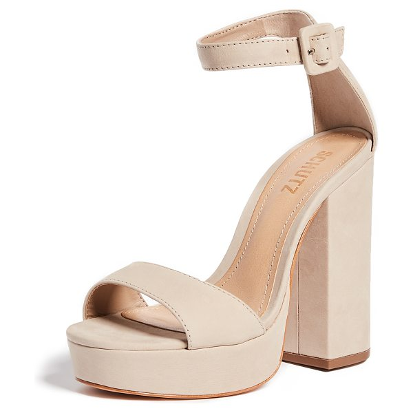 Schutz mikella block heel sandals in oyster - Leather: Cowhide. Single-strap style. Chunky heel....