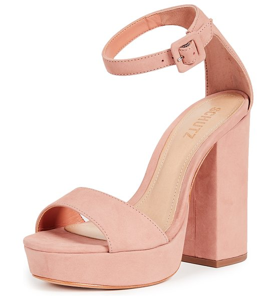 Schutz mikella block heel sandals in belle rose