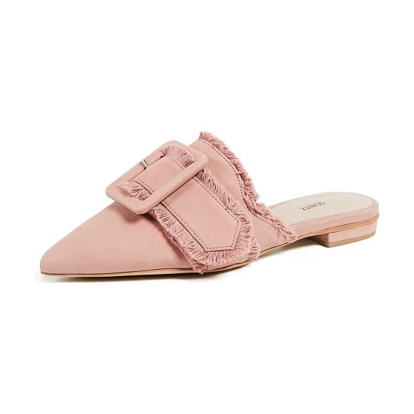 Schutz mileni point toe mules in poppy rose - Leather: Cowhide Fringe trim Buckle strap Mules Flat...