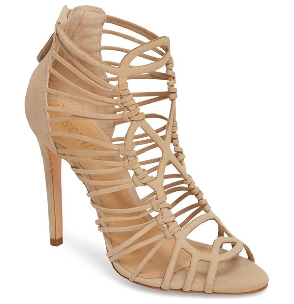 Schutz naama cage sandal in amber nubuck leather - Slim straps intertwine on a scene-stealing cage sandal...