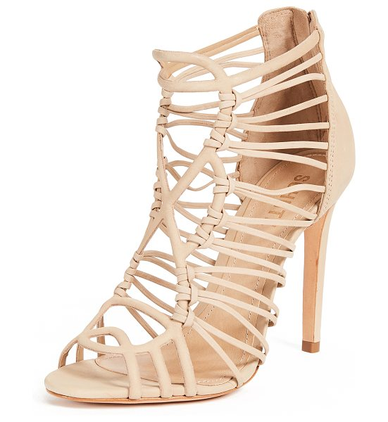 Schutz naama caged sandals in amber light - Leather: Cowhide Strappy silhouette Stiletto heel Open...