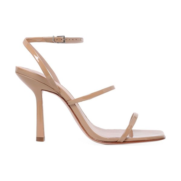 Schutz nita patent leather sandals in natural