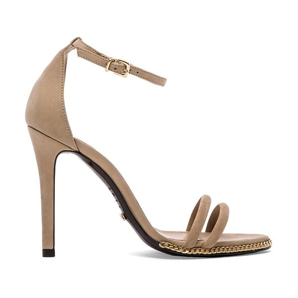 "Schutz Panteria heel in beige - Suede upper with leather sole. Heel measures approx 4""""..."