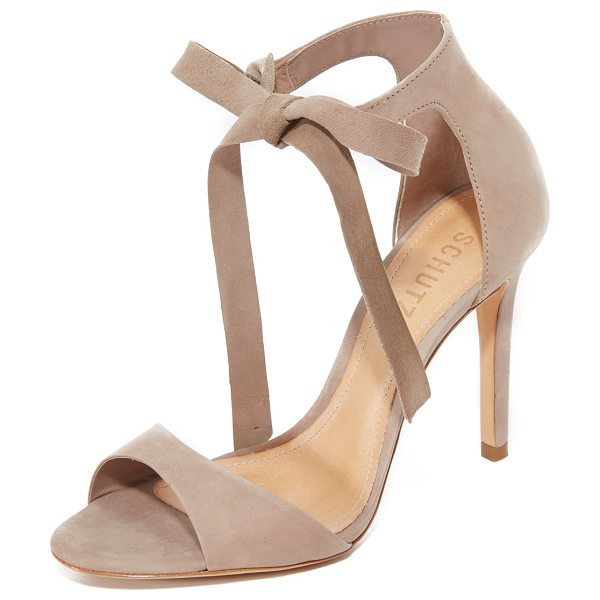 Schutz rene tie sandals in neutral - Refined Schutz sandals in luxe nubuck. Wraparound ankle...