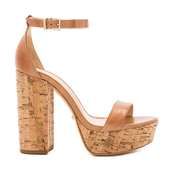 """Schutz Riggs Platform in tan - """"Leather upper and sole. Ankle strap with buckle..."""