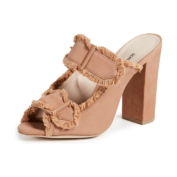 Schutz sabriely block heel sandals in toasted nut - Leather: Cowhide Soft fringe Slide sandals Chunky heel...