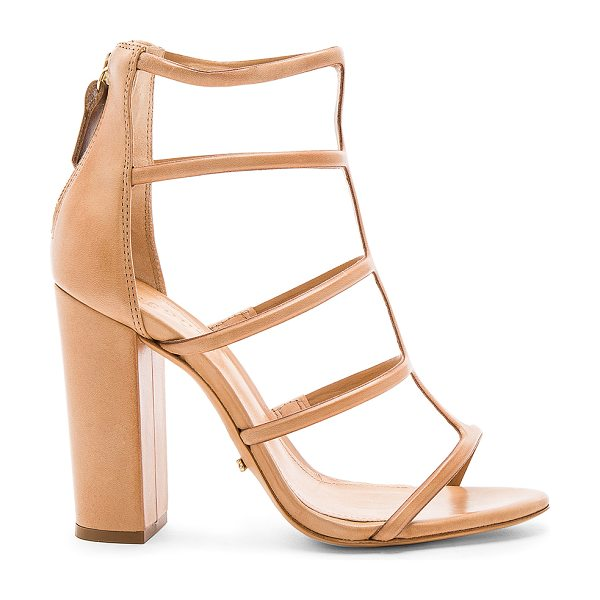 Schutz Sansa Heel in tan - Leather upper and sole. Back zip closure. Heel measures...